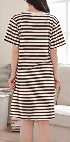 Stampate Righe L'allattamento Vestito Donna Prémaman Marrone SUNVOOL Da A Strati Disegno l'Allattamento Notte A Morbidi Abito Vestiti Gravidanza WgcP4Z46