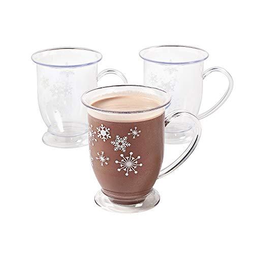 6 Plastic Winter Retreat Snowflake Holiday Mugs ()