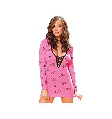 (Long Sleeve Mini Dress with Lace up Front and Skull Print (Pink, One Size))