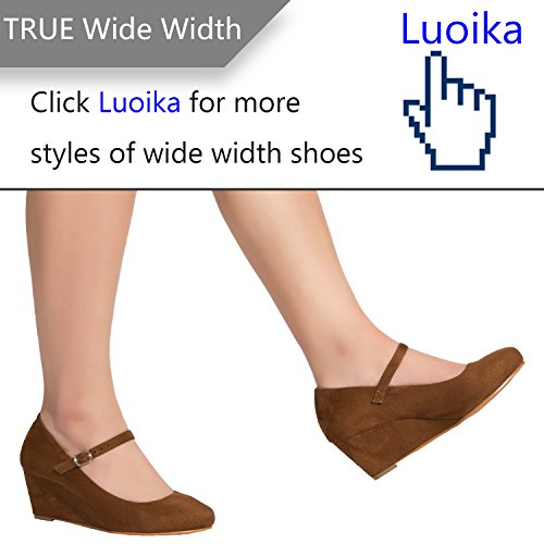 8f3d7b776bf Luoika Women s Wide Width Wedge Shoes - Ankle Strap Mary Jane Dress Shoes  Heel Pump Black