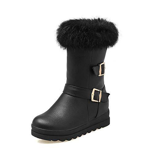 (Ms. Lily Women Leather Snow Boots Platform Heel Fur Buckled Zip Wedding Winter Booties Black)