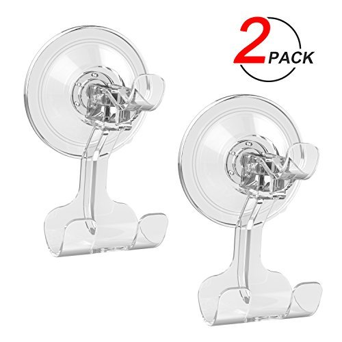 Suction Cup Hook LUXEAR Transparent Reusable Hook Razor Holder for Shower Bathroom Livingroom Kitchen Hook No Scratch Waterproof Oilproof Kitchen Wall Hanger (2 pcs Transparent) (Plastic Mirror Transparent)