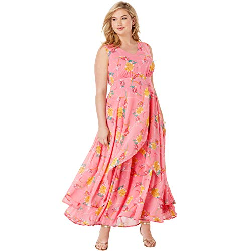 Jessica London Women's Plus Size Flyaway Maxi Dress - Coral Blush Iris Flower, 12 W