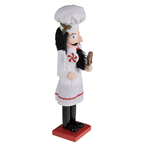 Baker Chef Nutcracker by Clever Creations | Baker Wearing White Apron with Red Trim and White Chefs Hat | Collectable Festive Christmas Decor | 100% Wood Perfect for Shelves and Tables | 15'' Tall by Clever Creations (Image #3)