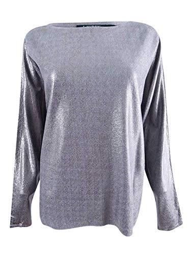 Cotton Metallic Sweater - Lauren Ralph Lauren Womens Metallic Sparkly Sweater Silver S
