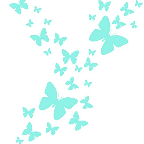 Create-A-Mural Butterfly Wall Decals (26) Butterfly Wall Decor Stickers, Peel & Stick Girls Wall Stickers (Mint)