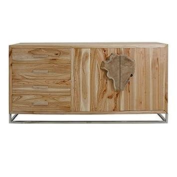 Credenza 2 ante e 4 cassetti in legno grezzo scandinavo Vical Home ...