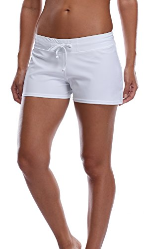 Charmleaks Women's Swim Shorts Board Shorts Beach Swim Tankini Bottoms For Women, White, Medium