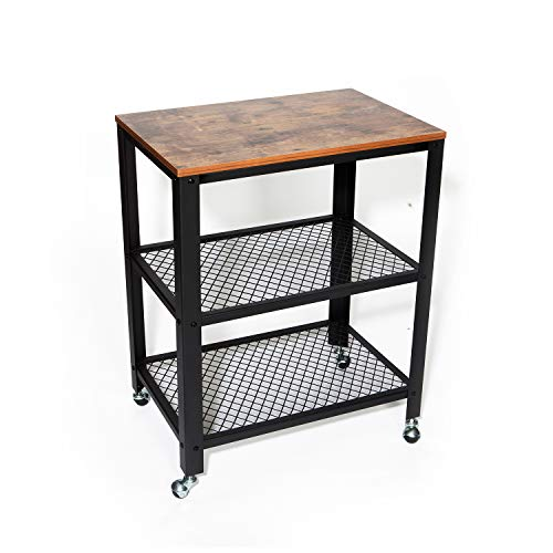 Storage Microwave Cart - IRONCK Industrial Kitchen Cart 3-Tier, Rolling Serving Cart on Wheels with Storage, Microwave Cart for Kitchen, Wood Look Accent Furniture with Metal Frame, Vintage Brown