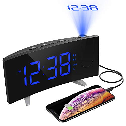 PICTEK Projection Alarm Clock, FM Radio, 5 Dimmable LED Curved Screen, Adjustable Ceiling Sleep Timer for Kids Bedrooms, 12/24 Hour, Snooze Function, USB Charging, Blue