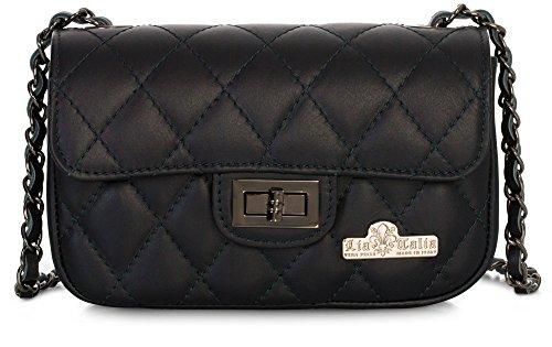 LIATALIA Ladies Quilted Leather Small Womens CAROL Bag Navy Italian Evening Genuine Clutch Party Purse rqEwra5
