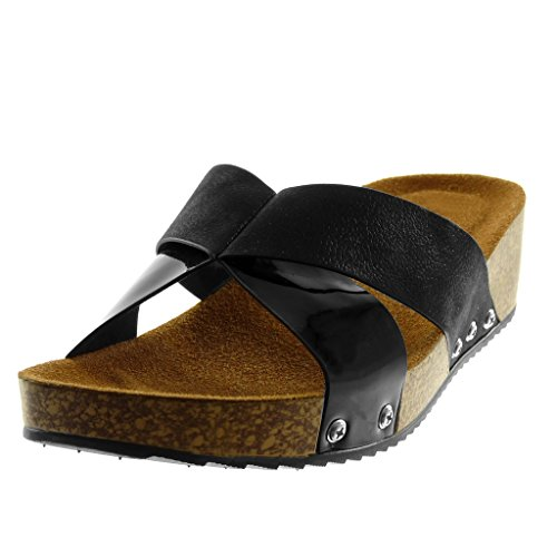 on Bimaterial Sandalias Brillantes Moda Negro Corcho Cm Tachonado Mujer Slip Angkorly Zapatillas 4 Mules Plataforma 5 EXUYq