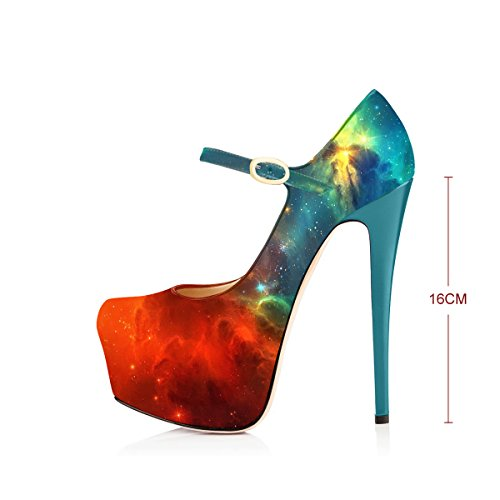Galacy Heels High Size Pumps Platform Jane Mary Shoes Dress Strap Stiletto 6 Women Joogo Ankle nxO4x78