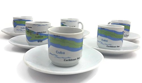 Cuban EXPRESSO Coffee Cup. Casita Coffee SET of 6. (Map)
