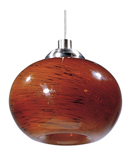 ET2 EP96024-106SN Amber Cloud 1-Light RapidJack Pendant RapidJack Pendant, Satin Nickel Finish, Amber Cloud Glass, 12V G4 Xenon Bulb, 11.5W Max., Dry Safety Rated, 3000K Color Temp., Shade Material, 1500 Rated Lumens