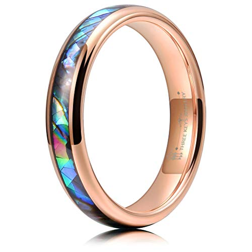 THREE KEYS JEWELRY 4mm Rose Gold Tungsten Wedding Ring with Abalone Shell Inlay Engagement Band Domed Size 11.5
