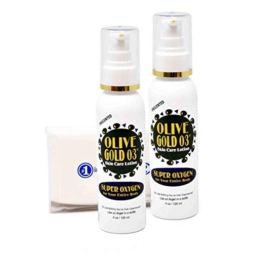 Olive Gold O3 Skin Care Lotion (4oz) 2 Pack - Pure Organic Olive Oil Super Ozonated Oxygen For Entire Body Moisturizer, For Acne, Sunburn, Eczema, Psoriasis, Cuts Etc. + #1 in Service Tissue Packet