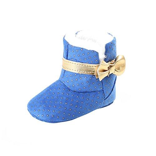 ESHOO Kids Baby Cute invierno cálido botas de nieve zapatos de suela blanda caqui Talla:6-12 meses azul