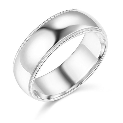 14k White Gold 7mm SOLID COMFORT FIT Plain Milgrain Wedding Band - Size 9