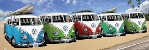 1art1 Posters: Cars Door Poster - VW Bus, Californian Camper, Beach (62 x 21 inches)