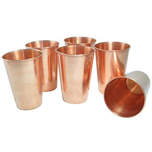 Prisha India Set of 6, Pure Copper Glass Tumblers for Water Handmade Indian Drinkware