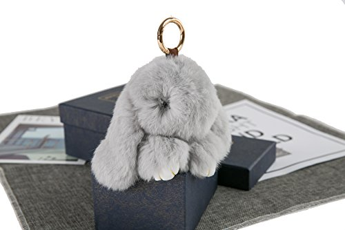 YISEVEN Stuffed Bunny Keychain Toy - Soft and Fuzzy Large Stitch Plush Rabbit Fur Key Chain - Cute Fluffy Bunnies Floppy Furry Animal Doll Gift for Girl Women Purse Bag Car Charm - Light Gray by YISEVEN (Image #2)