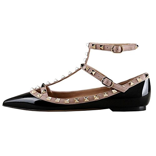 Fashion MERUMOTE Daily Patent Double Ballet Buckles Rivets Toe Women's black Flats Sexy Pointed Rockstud with Shoes wrFRrXzq