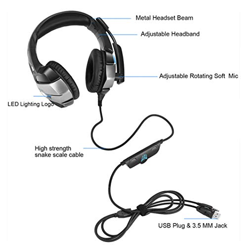 HUAN PC Gaming Headset for PS4 Xbox One, 3.5mm Stereo USB LED Headphones with Omnidirectional Microphone, Volume Control for Computer Laptop Mac Playstation 4 by HUAN (Image #4)