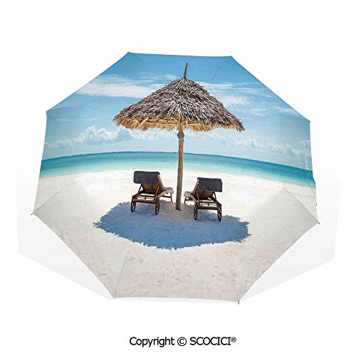 SCOCICI High Grade Portable Sun Umbrella, Wooden Sun Loungers Facing Eastern Ocean Under a Thatched Umbrella in Zanzibar,Compact Travel Umbrella for Women Men, Auto Open Close (Sale Thatched Umbrellas)