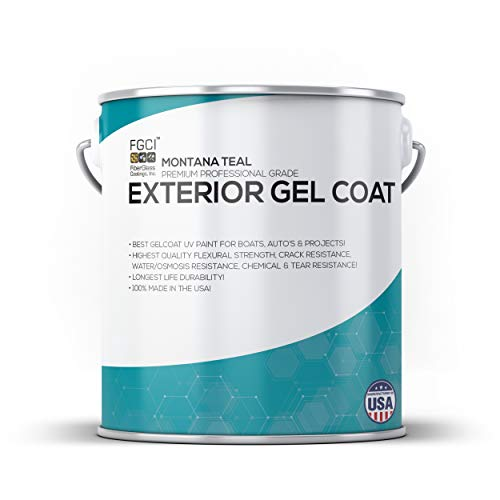 MONTANA TEAL Boat Paint, EXTERIOR GEL COAT KIT, 1 Quart W/ 1 OZ MEKP, No Wax/Sanding, Fiberglass Coatings, Inc., PROFESSIONAL MARINE GELCOAT, Boat Exterior Hulls, Boat Interior Decking, DIY Projects