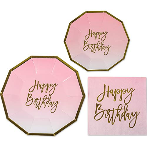 Andaz Press Pink and Gold Foil Happy Birthday Party Plates and Napkins Set, Bulk 50-Pack, 9-Inch Plates, 7-Inch Plates, 6.5-Inch Lunch Napkins, Pink Ombre Party Tableware Kit for 50, Geometric Party