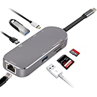 USB C Hub, Aluminum USB-C Dongle 7 in 1 Multiport Type C Adapter-4K HDMI, 2 USB 3.0 Ports, SD / TF Card Reader, PD Charging and 1000M Ethernet Port for Macbook Pro, Google Chromebook