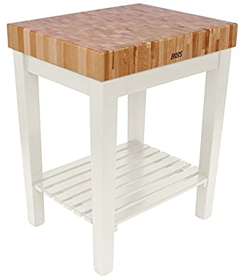White Butcher Block Kitchen Table : Amazon.com: American Heritage Chef's Block Prep Table with Butcher Block Top Base Finish ...