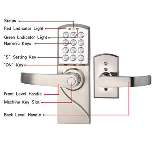 door lock digital electronic code smart keyless keypad security locks kit set letf handle. Black Bedroom Furniture Sets. Home Design Ideas