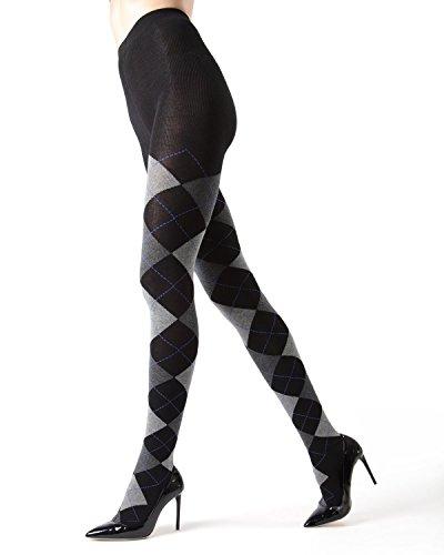 MeMoi Campbell Argyle Sweater Tights | Hosiery - Pantyhose Dark Gray Heather MO 391 Large/XLarge
