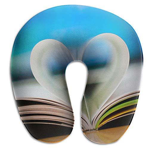 KopgLnm 3D Love Heart Book Wallpaper Neck Pillow Comfortable Soft Microfiber Neck-Supportive Travel Pillow for Home, Neck Pain