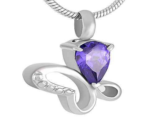 Laceta's Keepsakes Butterfly With Jewel Cremation Urn Jewelry Necklace Pendant Memorial Ashes (Purple) ()