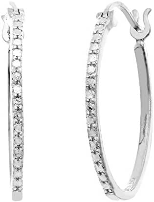 Sterling Silver Diamond Accent Oval Click Top Hoop Earring