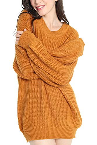 Liny Xin Women's Cashmere Oversized Loose Knitted Crew Neck Long Sleeve Winter Warm Wool Pullover Long Sweater Dresses Tops (Model 2, Ginger)