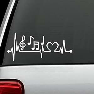 K1096 Music Notes Heartbeat Lifeline Monitor Decal Sticker