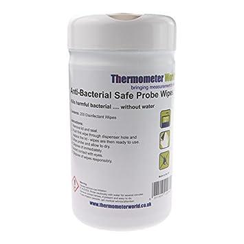 Bote de 200 toallitas antibacterianas, desinfectantes para termómetros, sondas térmicas para cocina o catering, color azul, 13 cm x 13 cm: Amazon.es: Hogar