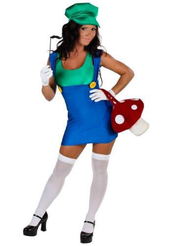 Fun Costumes womens Plus Size Sexy Green Plumber Costume 1X (Mario And Luigi Womens Costumes)