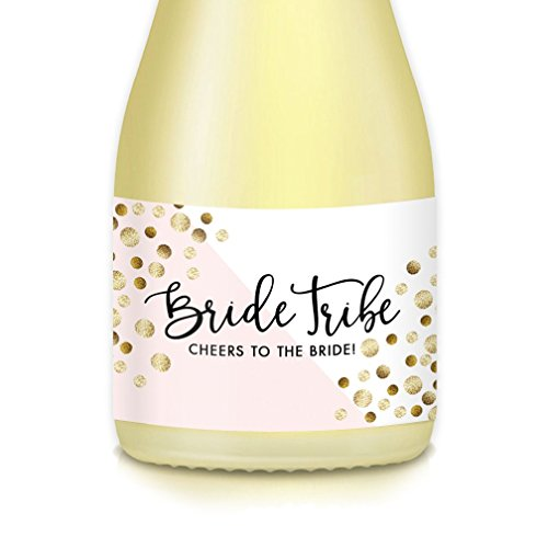 Set of 20 BRIDE TRIBE Mini-Champagne & Wine Bottle Labels, Engagement Party or Bachelorette Girls Night Out, Bridesmaid, Maid & Matron of Honor Wedding Party Proposal Gift Bag, Box Decals 3.5
