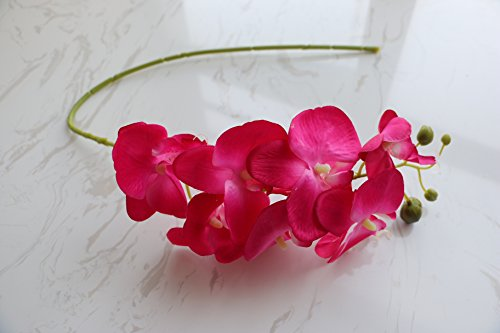 jiumengya 5pcs 78cm (7 heads/piece) hot pink color Phalaenopsis Butterfly Moth Orchid Thai Orchids for Wedding Centerpiece Decorative Artificial Flowers (hot pink) by jiumengya