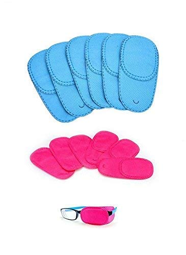 Alfto Children Adult Eye Patch for Glasses to Treat Lazy Eye/Amblyopia/Strabismus 12pcs(Blue + Pink)(4.21inch x 1.96inch)