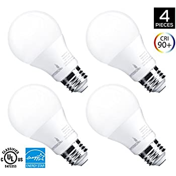 Hyperikon A19 Dimmable LED Light Bulb, 9W (60W Equivalent), ENERGY STAR Qualified, 3000K (Soft White Glow), CRI90+, 820 Lumens, Medium Screw Base (E26), UL-Listed, Standard Light Bulb (4 Pack)