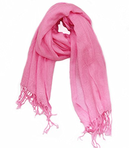 (Soophen Pashmina Scarf Beautiful Solid Colors - Hot Pink)