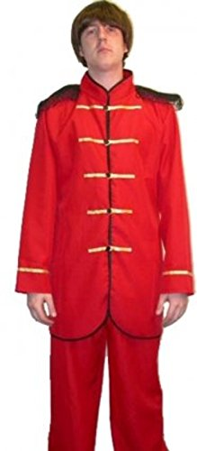 Mens Party Dress Complete Costume Male Outfit Sgt. Peppers Suit Red (one Size) (Sgt Pepper Costume)