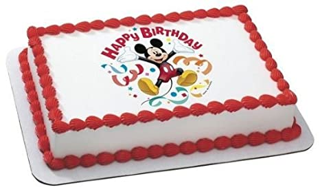 1 4 Sheet Mickey Mouse Birthday Streamers Edible Image Cake