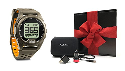 Price comparison product image Bushnell Neo Ion (Charcoal) Golf GPS Watch GIFT BOX Bundle | Includes PlayBetter USB Wall/Car Charging Adapters, GPS Carry Case, Cleaning Brush | Black Gift Box with Red Bow